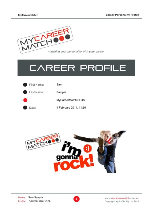 MyCareerMatch Sample Report 2014