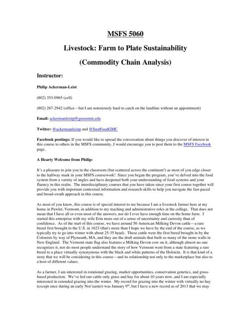 Sustainable Livestock Production: A Commodity Chain Analysis (ON