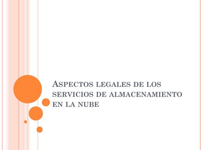 Aspectos legales de los servicios de almacenamiento en la nube