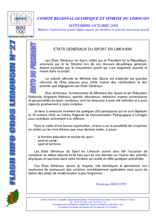 Flash Info N° 27 - Octobre 2002