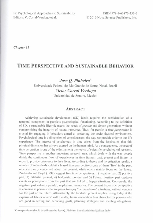 Chapter 11. Time Perspective and Sustainable Behavior