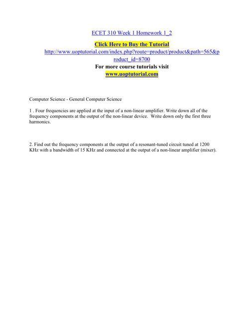 ECET 310 Week 1 Homework 2