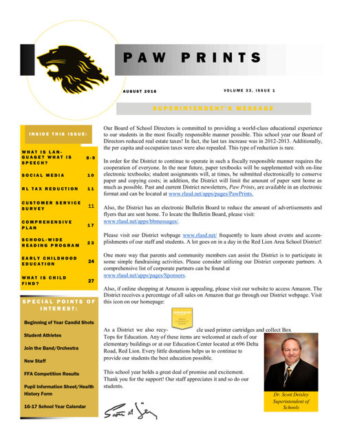 PawPrints August 2016 Edition.1