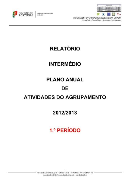 Relatório Intermédio - PAA - 1.ºPeríodo - 2012/2013
