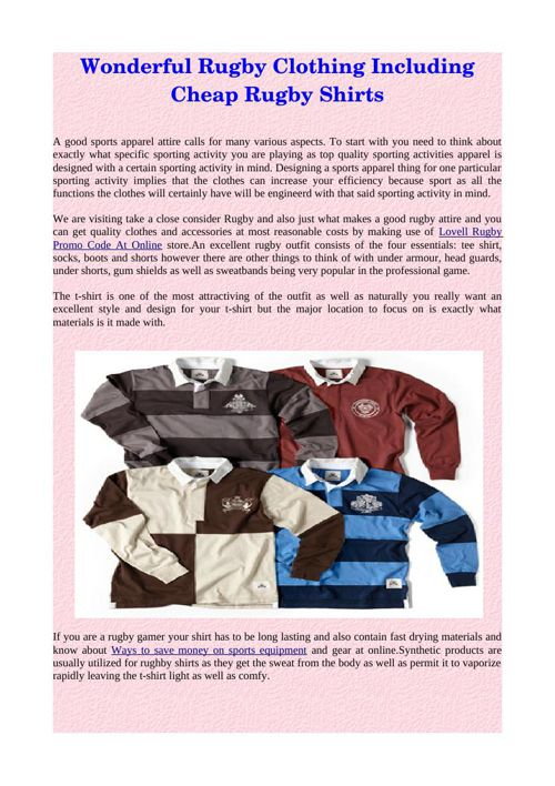 Wonderful Rugby Clothing Including Cheap Rugby Shirts