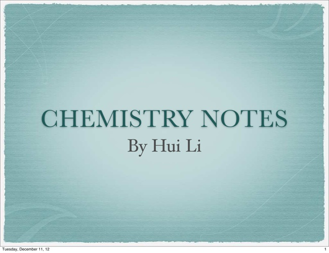 Chemistry Flipbook