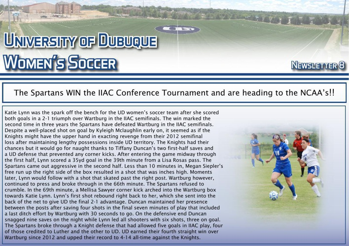University of Dubuque Women's Soccer 2014 Newsletter: Issue 8
