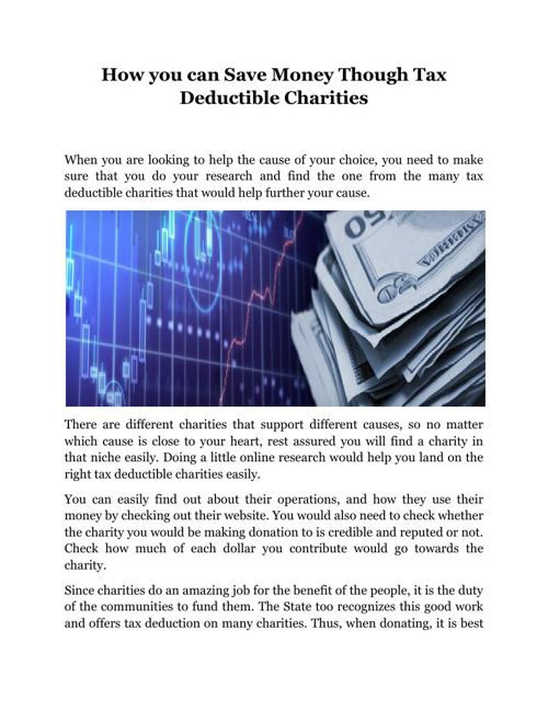 How you can Save Money Though Tax Deductible Charities