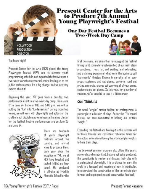 Prescott Parent Magazine - Young Playwright's Festival 2017
