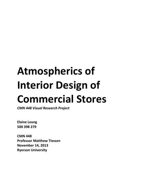 Atmospherics of Interior Design of Commercial Stores