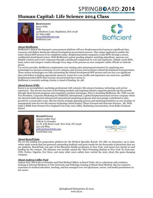 2014 Presenting Company Bios
