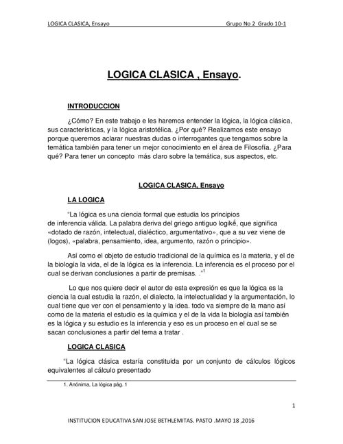 LOGICA CLASICA O ARISTOTELICA