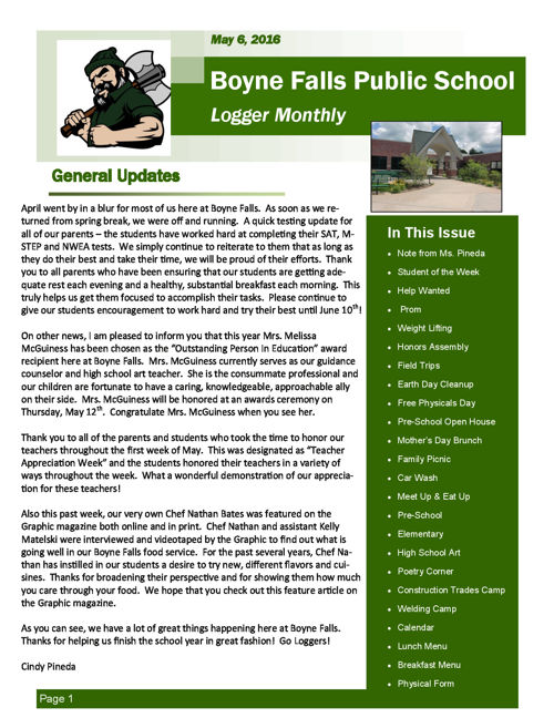 May 16, 2016 Logger Monthly