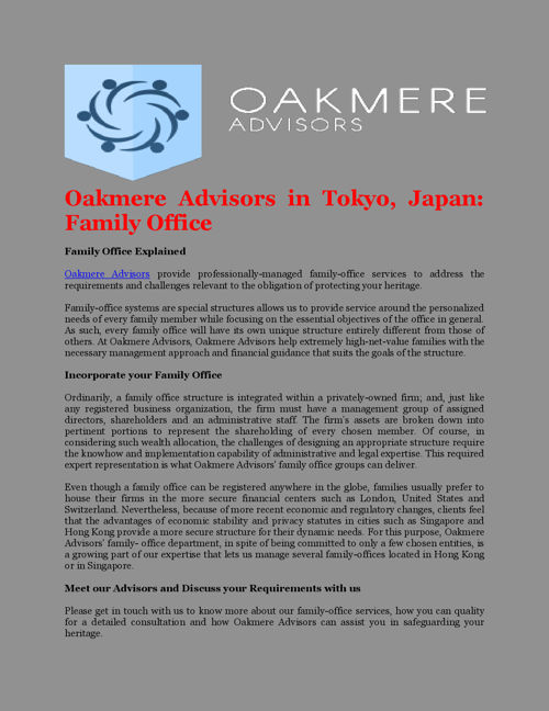 Oakmere Advisors in Tokyo, Japan: Family Office
