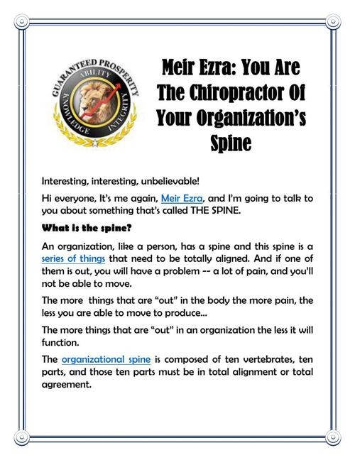 Meir Ezra: You Are The Chiropractor Of Your Organization's Spine