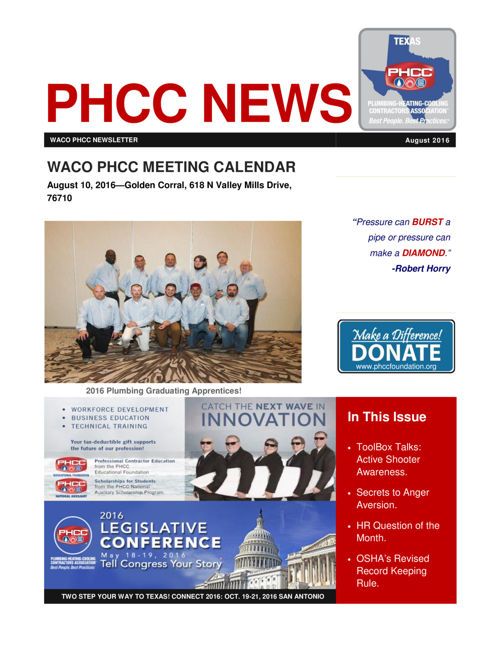 WACO PHCC AUGUST 2016 NEWSLETTER