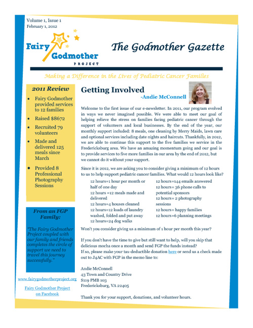 Fairy Godmother Project Newsletter