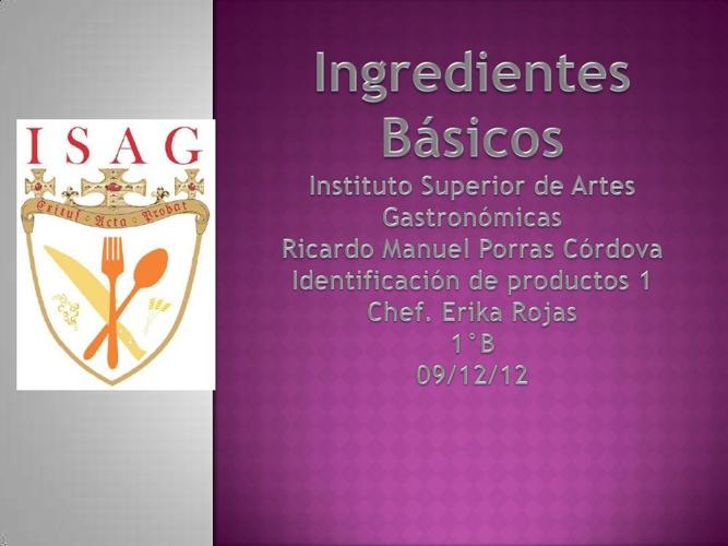 Ingredientes Básicos Ricardo Porras 1°B