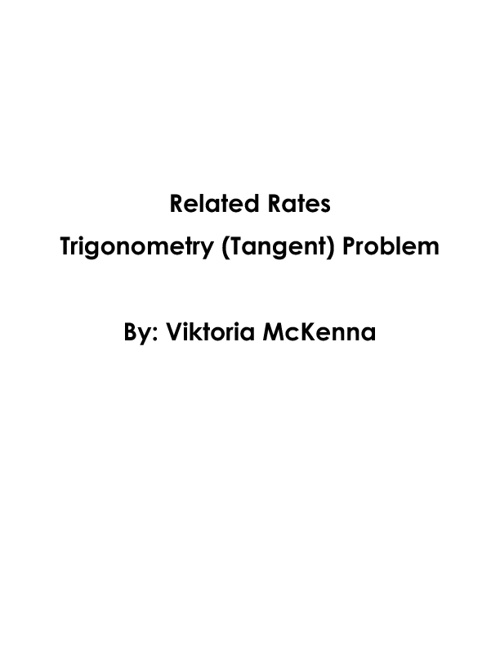 Trigonometry (Tangent) Related Rates Problem