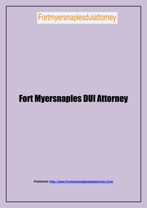 Fort Myersnaples DUI Attorney