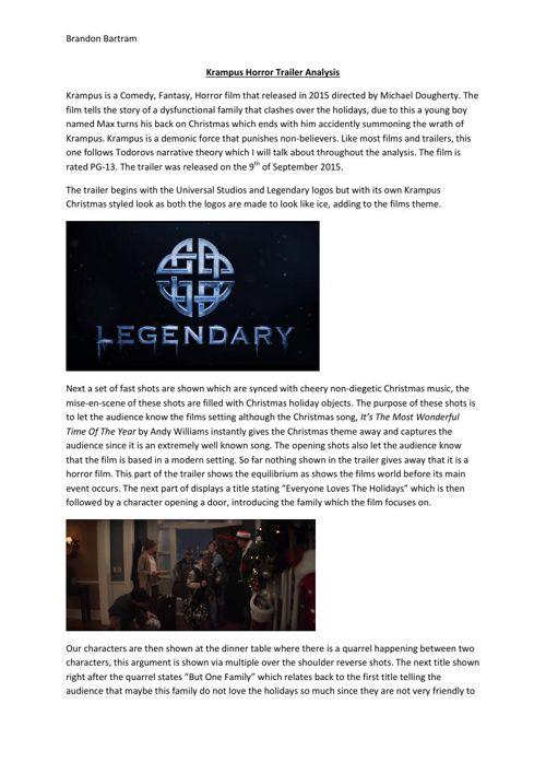 Krampus Horror Trailer Analysis