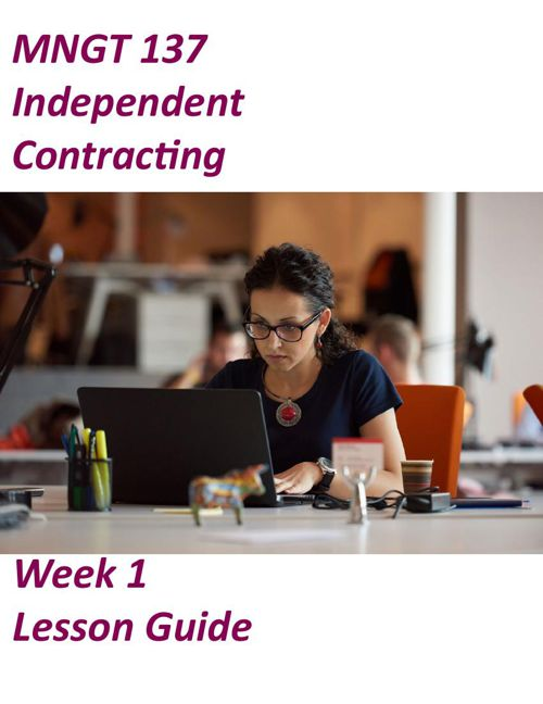 MNGT137- Independent Contracting