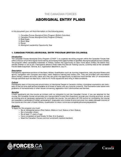 Aboriginal Entry Plans