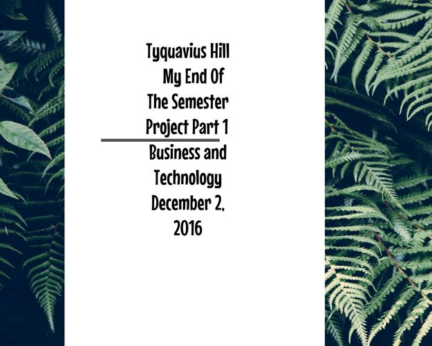 End Of Semester Project Part 1