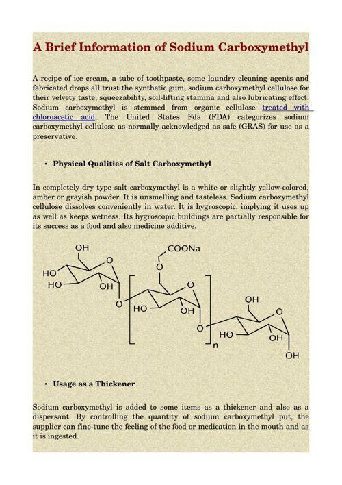 A Brief Information of Sodium Carboxymethyl