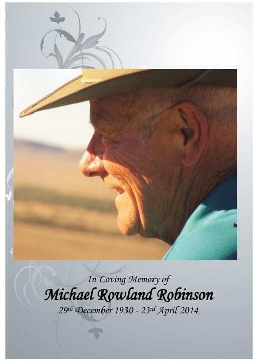 12 Order of Service for Michael Rowland  Robinson