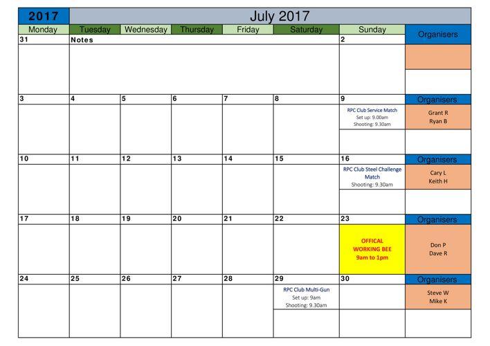 Rotorua Pistol club 2017-2018 Calendar 1