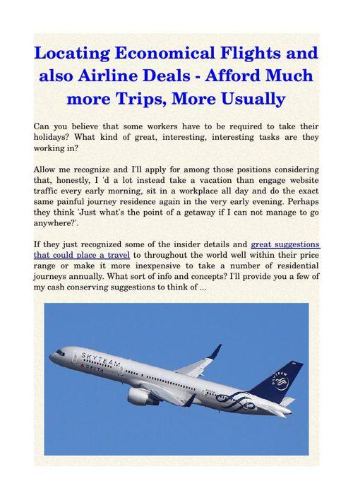 Locating Economical Flights and also Airline Deals - Afford Much