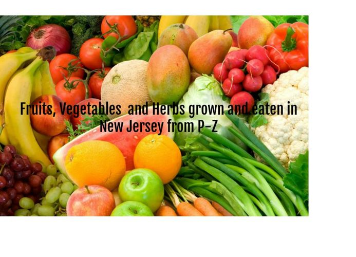 Fruits Veggies, and Herbs grown and eaten in new Jersey O-Z
