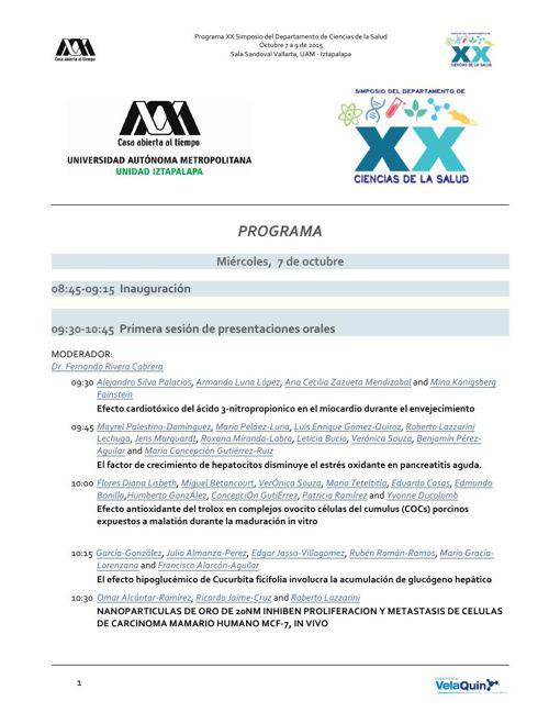 Programa XX Simposio Ciencias de la Salud