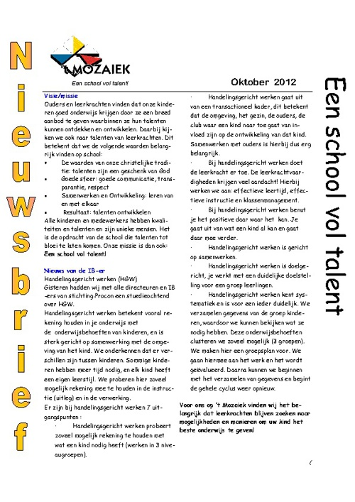 nieuwsbrief oktober 2012