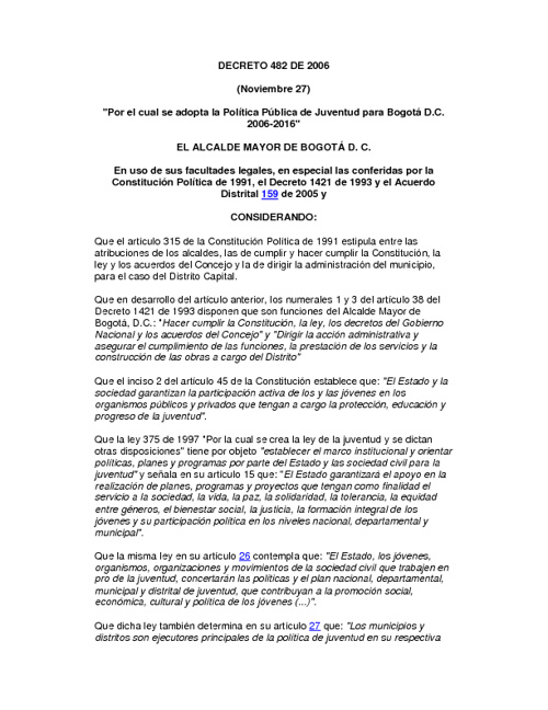 DECRETO 482 DE 2006 - POLITÍCA PUBLICA DE JUVENTUD