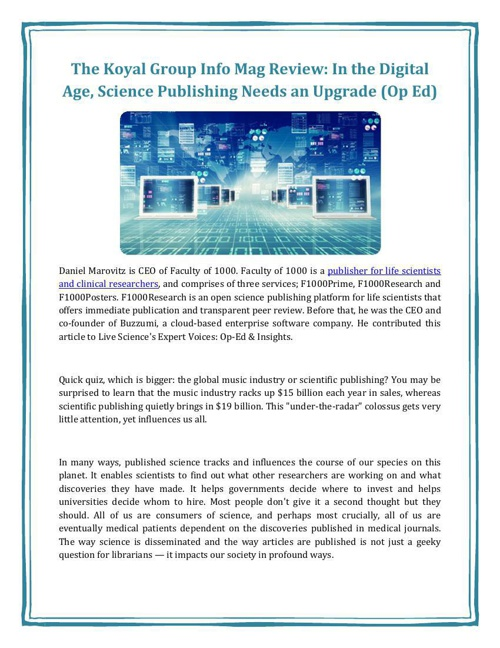 The Koyal Group Info Mag Review: In the Digital Age, Science Pub