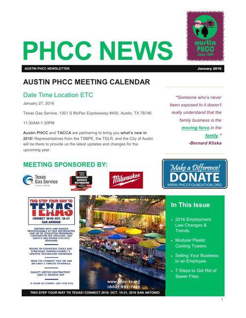 Austin PHCC January 2016 Newsletter