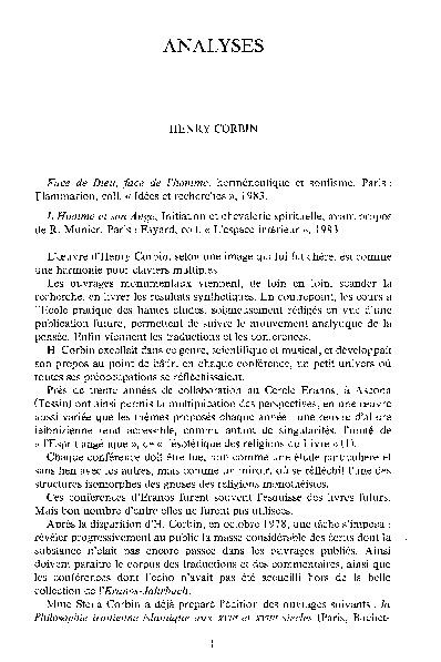 JAMBET, C., « Henry Corbin », dans Aries, vol. 1, no. 2, 1985