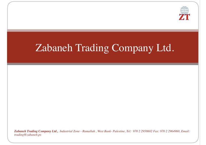 Zabaneh  Trading Company Profile Presentation