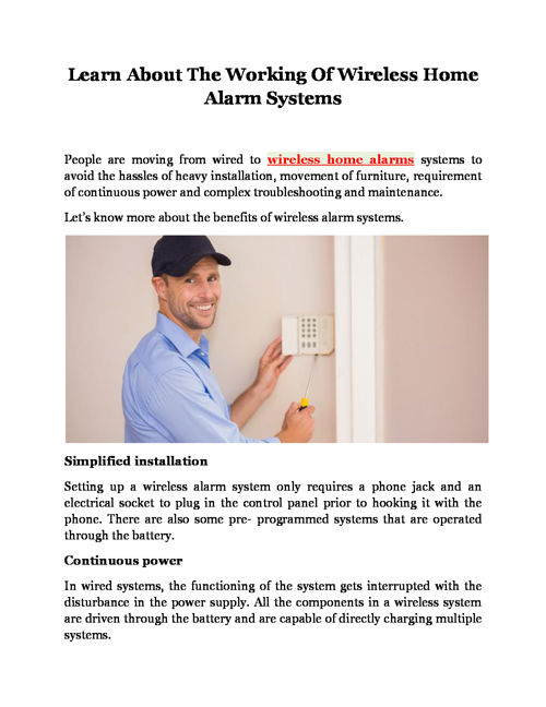 Learn About The Working Of Wireless Home Alarm Systems