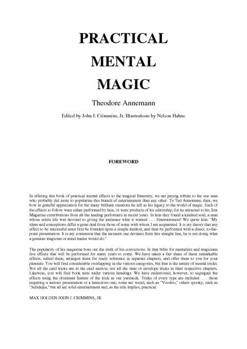 Annemann's Practical Mental Magic