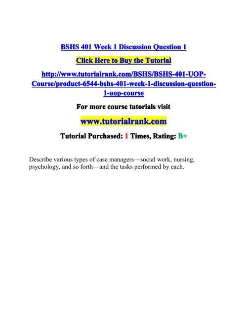 BSHS 401 Potential Instructors / tutorialrank.com
