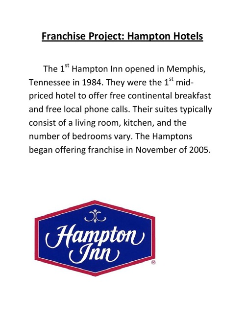 Franchise Project: Hampton Hotels Nia Duncan