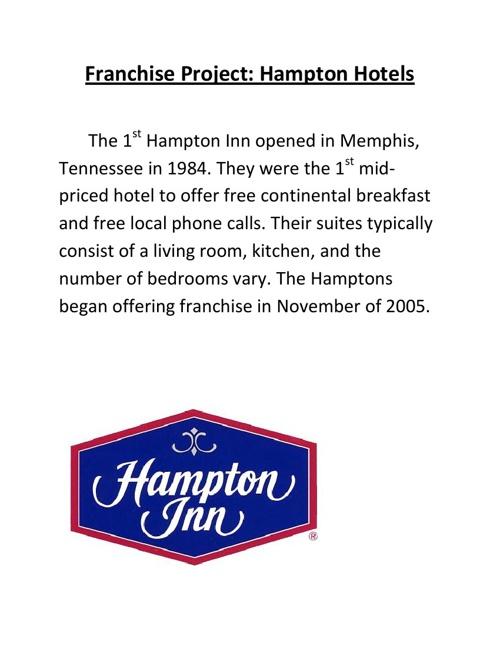 Franchise Project: Hampton Hotels Nia Duncan