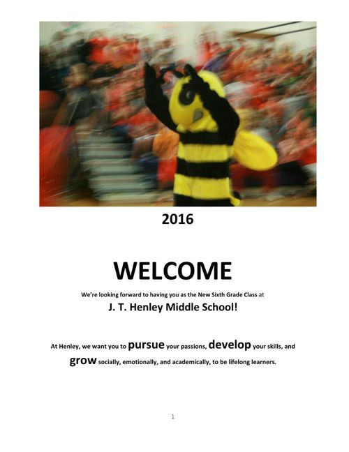 2016 Henley Welcome Book