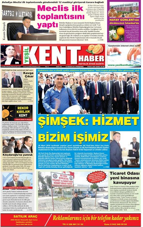 Yeşilkent Haber Gazetesi - Sayı 92