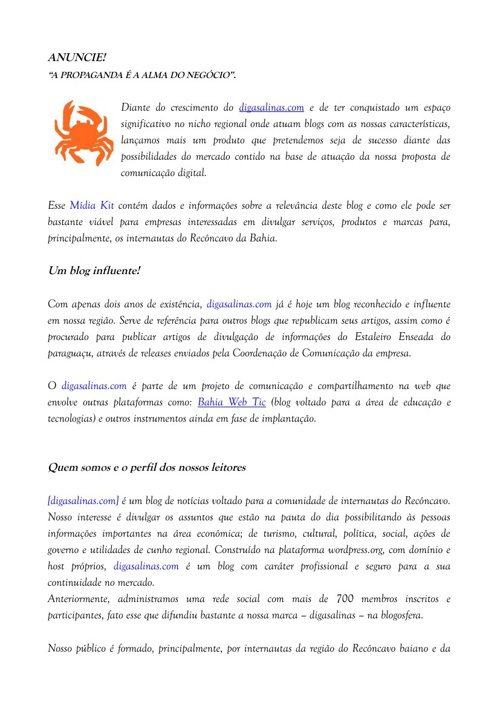 Mídia Kit digasalinas.com
