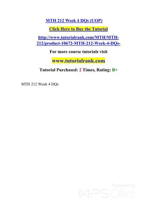 MTH 212 UOP Courses TutorialRank