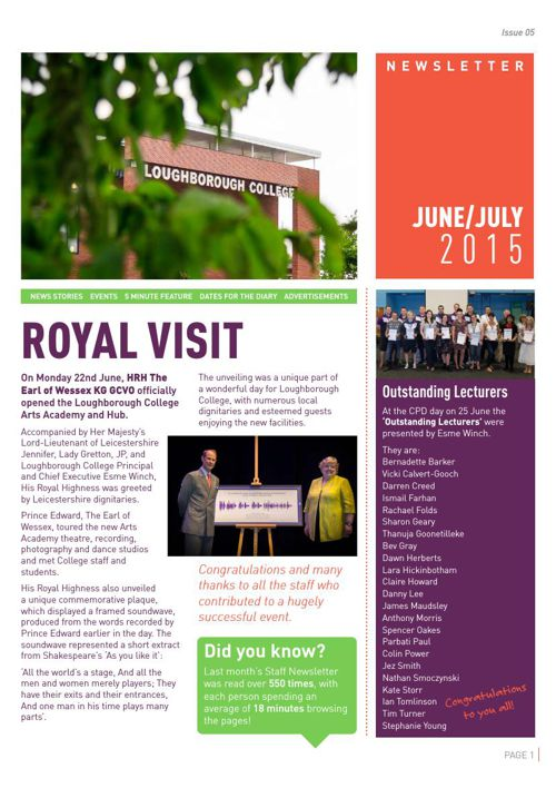 Staff Newsletter June.July